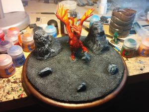 The dragon attached to the base!