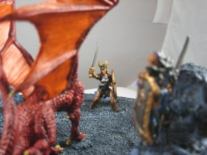 Barbarian bravely/stupidly confronts the dragon head-on!